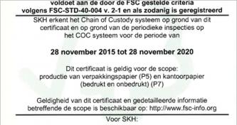 SKH – FSC Certificaat