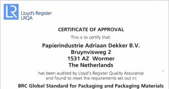 BCR Packaging Certificaat Status A